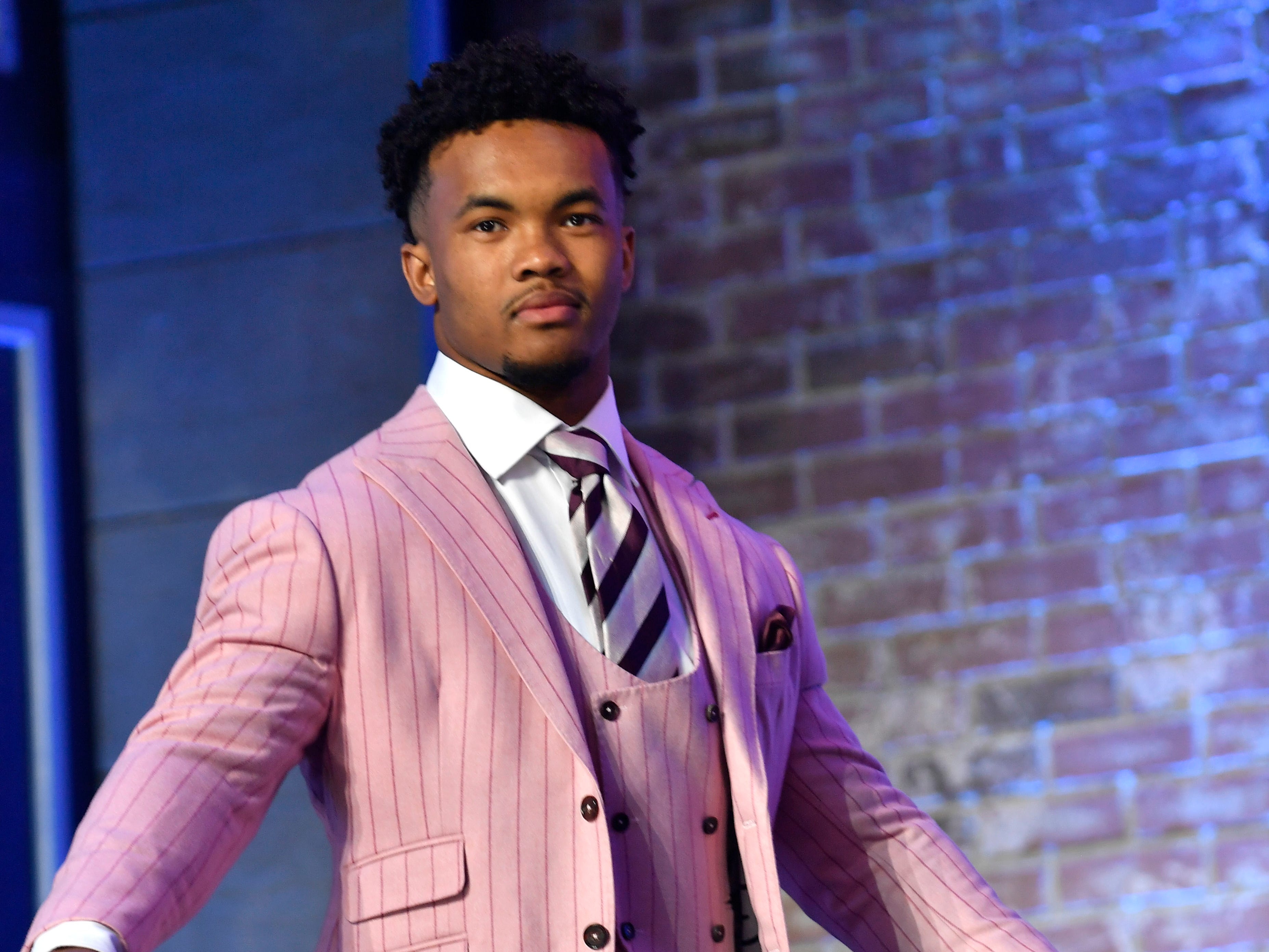 Kyler Murray of Oklahoma walks onto the stage for the first round of the NFL Draft Thursday, April 25, 2019, in Nashville, Tenn.