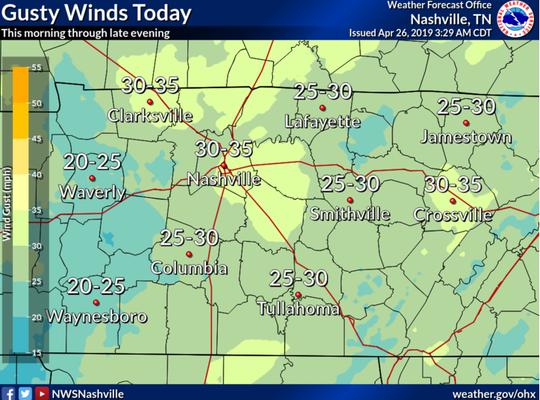 Friday, April, 26, 2019 weather forecast for Nashville.