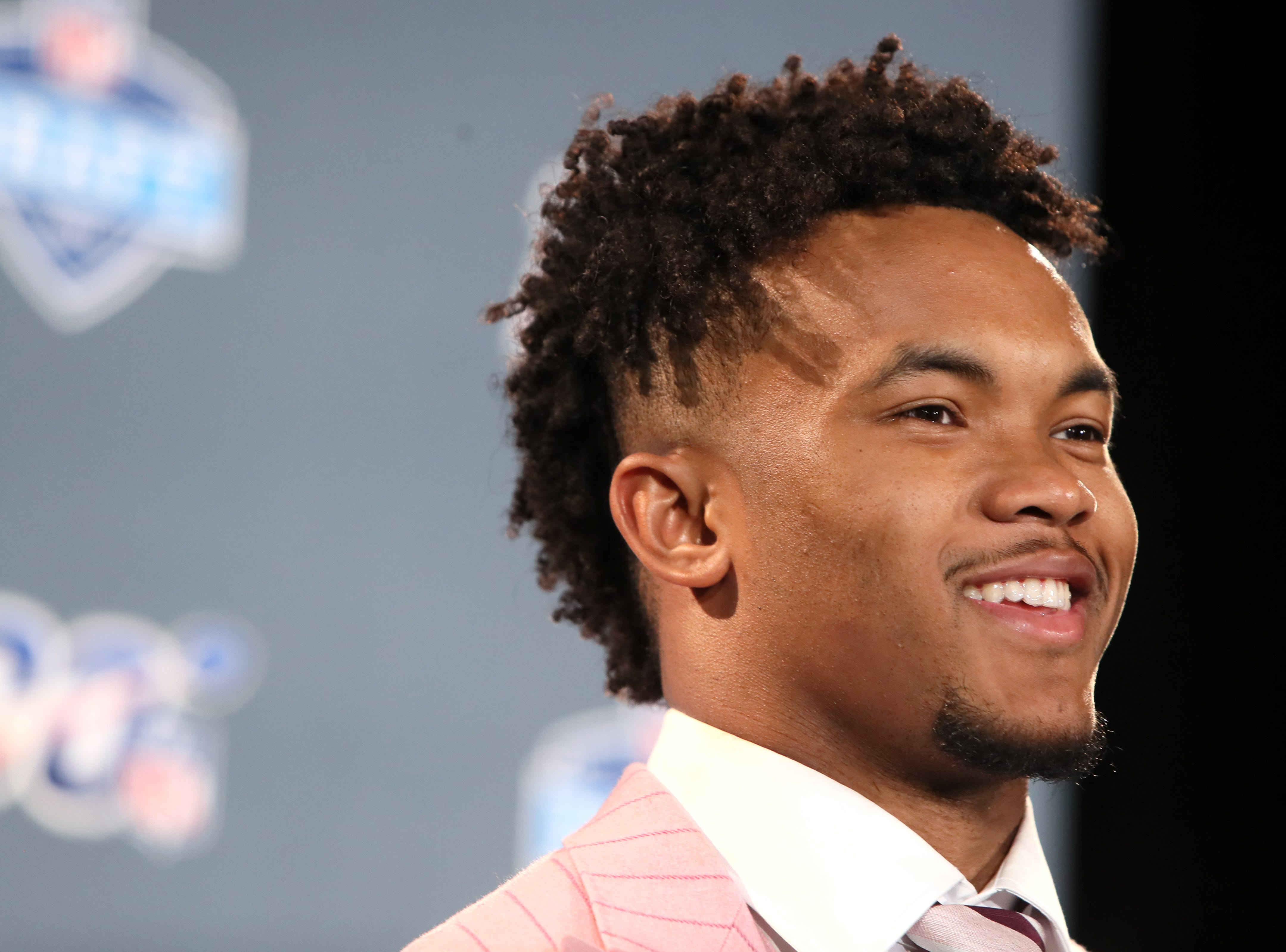 The number one pick selected by the Arizona Cardinals Kyler Murray speaks during a press conference after his selection at the NFL draft in downtown Nashville on Thursday, April 25, 2019.