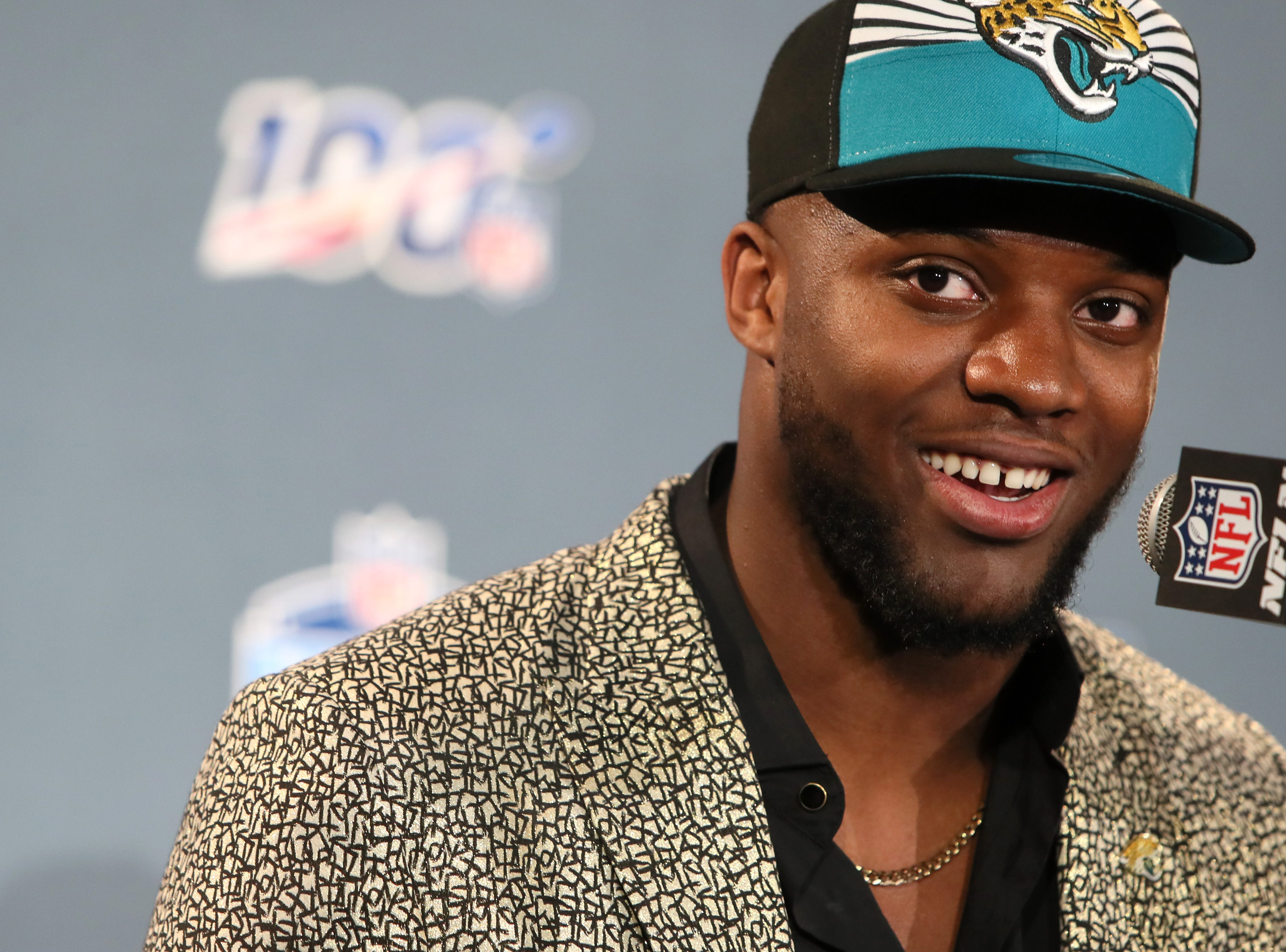 The number seven pick selected by the Jacksonville Jaguars Josh Allen speaks during a press conference after his selection at the NFL draft in downtown Nashville on Thursday, April 25, 2019.