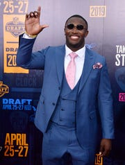 Devin White, Louisiana State, on the 2019 NFL Draft red carpet Thursday, April 25, 2019, in Nashville, Tenn.