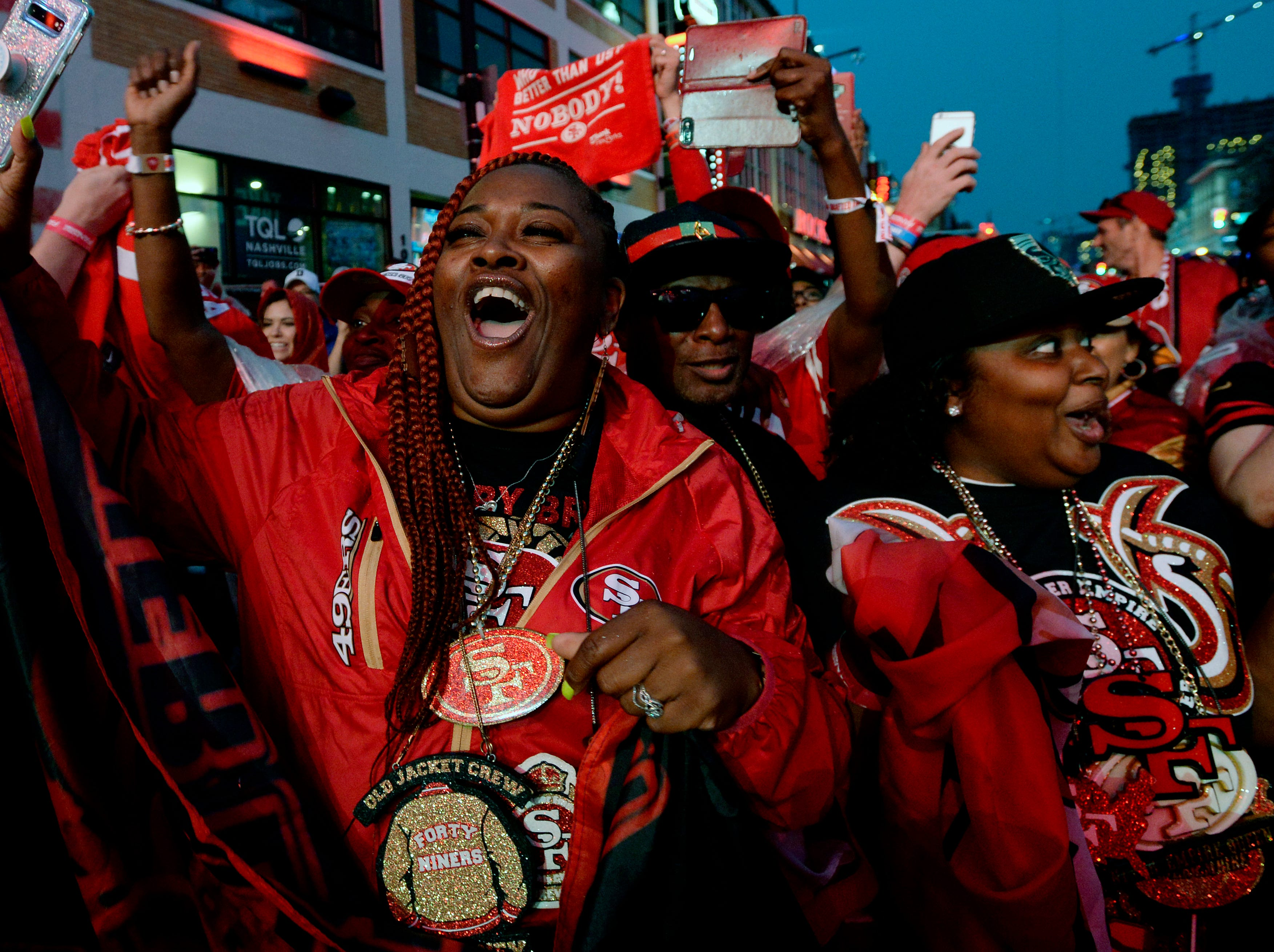 San Francisco 49ers fans celebrate after the team selected defensive end Nick Bosa  during the NFL Draft on Thursday, April 25, 2019, in Nashville, Tenn.