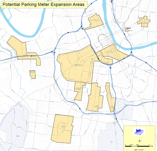 A 2017 parking study by Nashville Area Metro Planning Organization into potential meter expansion areas indicates the possibility for 389 paid parking spots in Five Points, 215 spots in 12South and 34 spots on Eighth Avenue South.