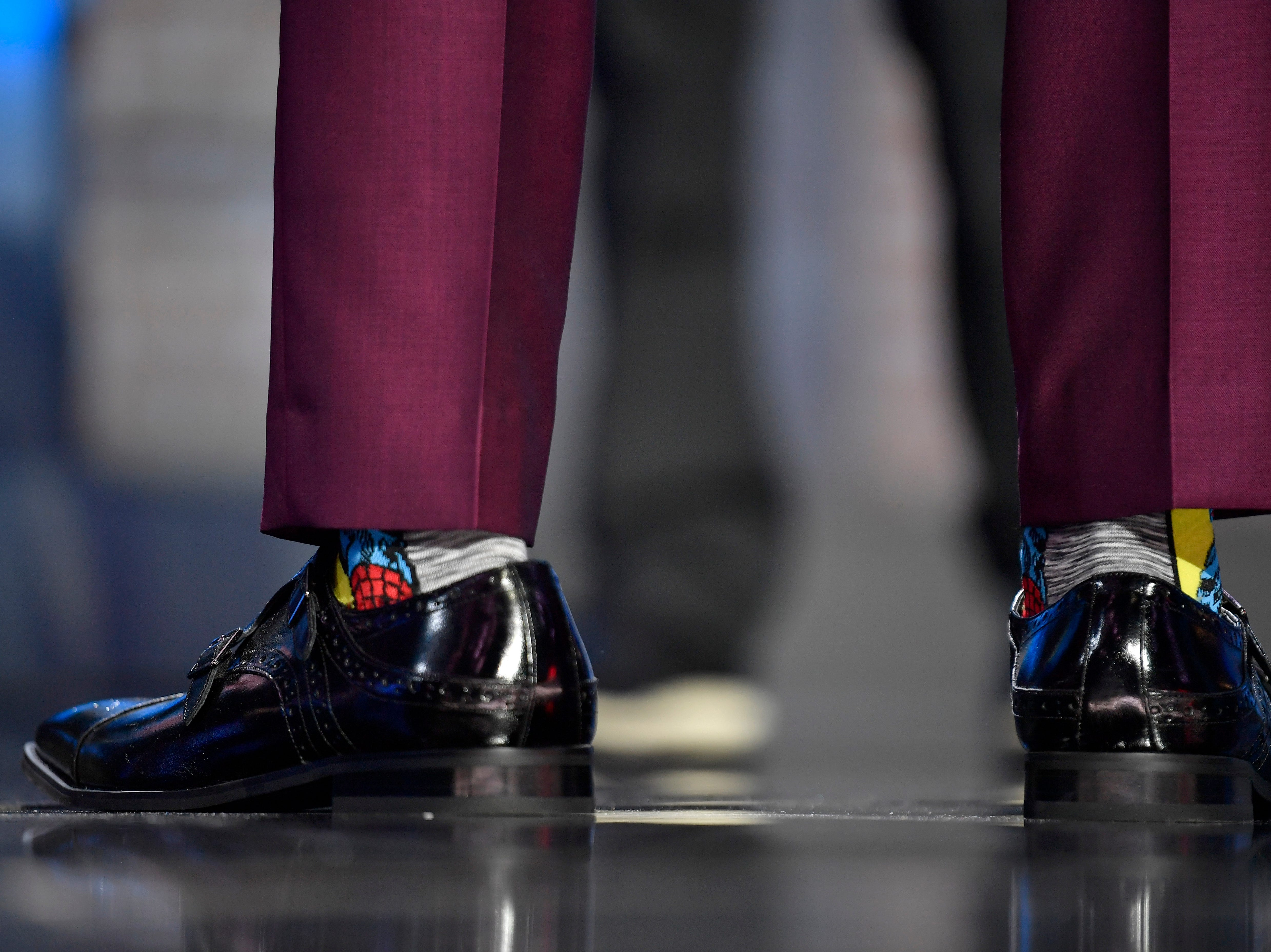 Carolina Panthers pick Brian Burns wears Spider Man socks during the first round of the NFL Draft Thursday, April 25, 2019, in Nashville, Tenn.