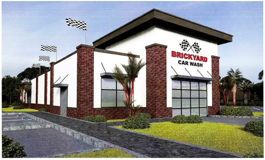 A rendering of the Brickyard Car Wash under construction next to RaceTrac in Cameron Commons on the north side of Immokalee Road east of Collier Boulevard.
