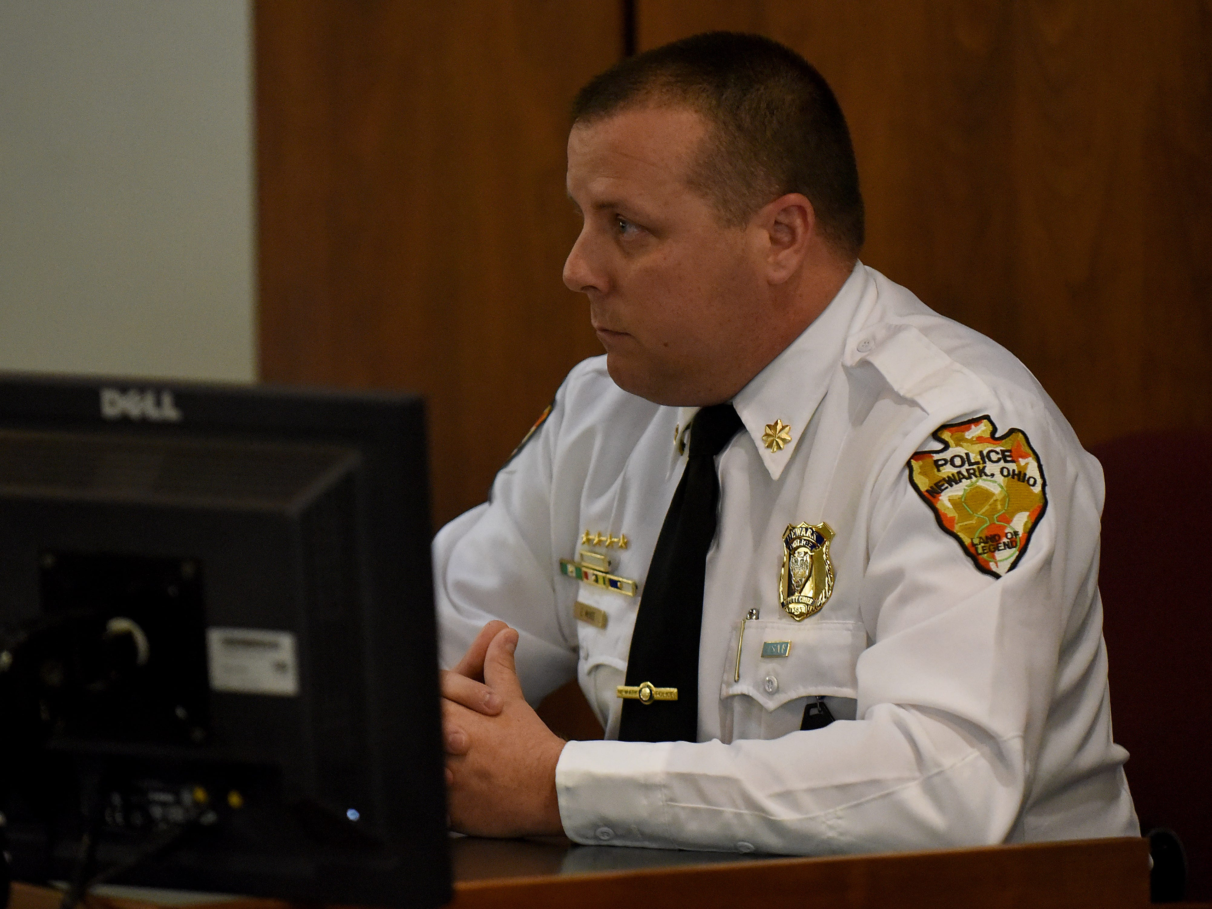 Newark Police Deputy Chief Erik McKee testifies during Newark Police Chief Barry ConnellÕs trial for a traffic citation alleging he passed a stopped school bus in October.