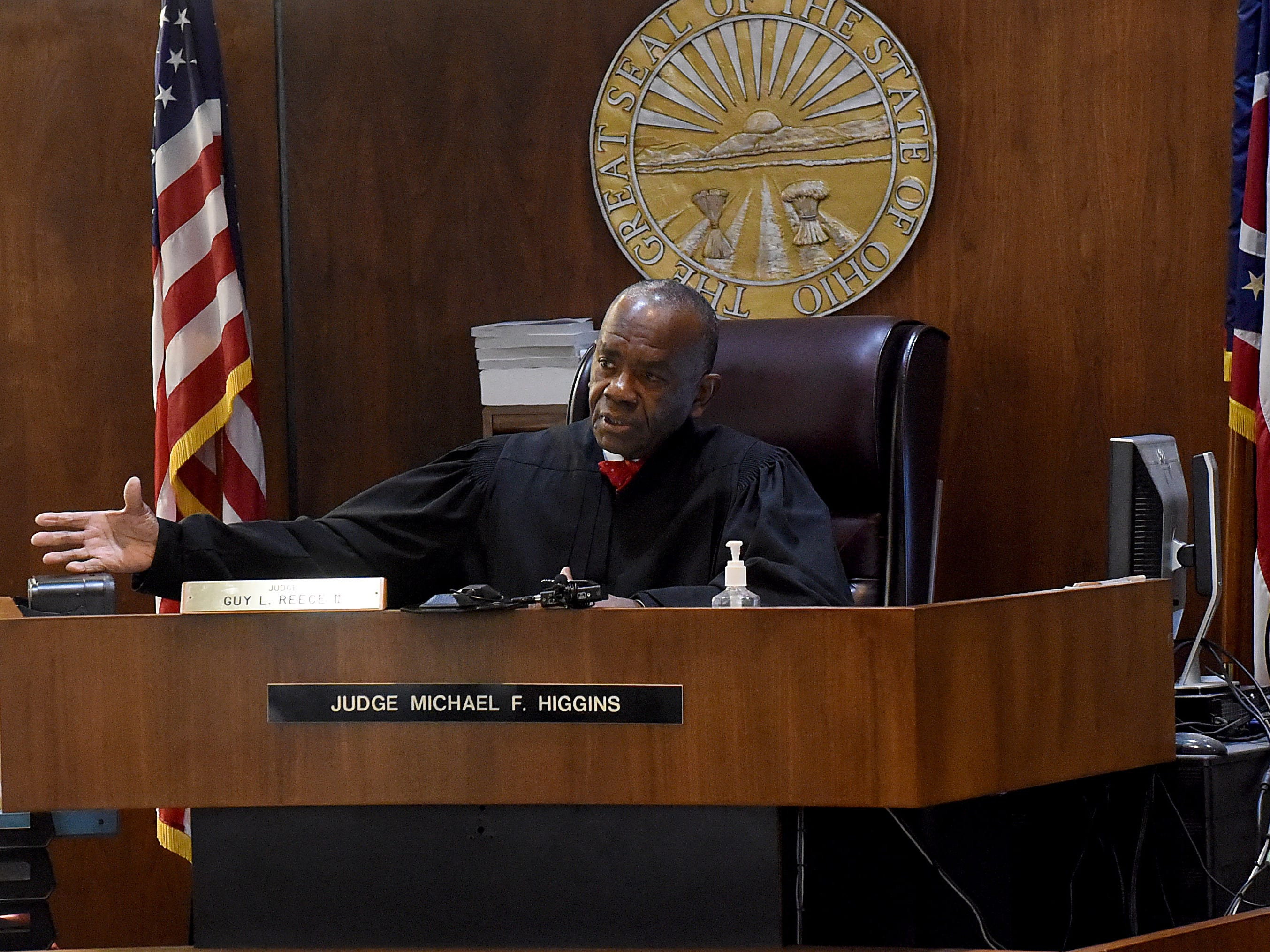 Visiting Judge Guy Reece II, from Franklin County, finds Newark Police Chief Barry Connell guilty of passing a stopped school bus and imposes a $100 fine in court costs.