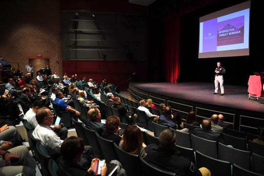 The Bergen County Prosecutor's office hosts a school security training seminar for school administrators at Bergen Community College in the Ciccone Theater on Friday, April 26, 2019. Chief Robert Anzilotti, of the Bergen County Prosecutor's office, speaks during the seminar.