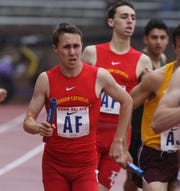 Braedon Fiume of Bergen Catholic in the 4x800 Small School relay.