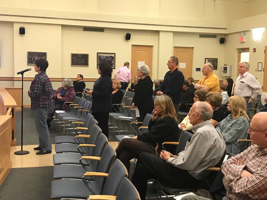 Mahwah residents line up to express views on council cell tower action.