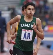 Justin Pecore of Ramapo in the 4x800 Small School relay.
