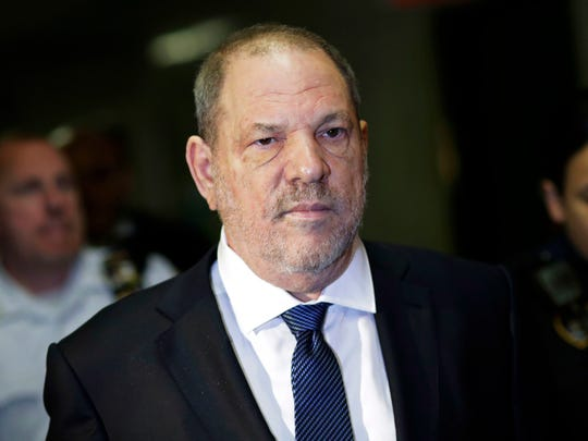 FILE - In this Oct. 11, 2018 file photo, Harvey Weinstein enters State Supreme Court in New York. Both the prosecution and defense have asked that the hearing Friday, April 26, 2019, dealing with trial strategy and potential witnesses be held behind closed doors. News organizations are fighting this.