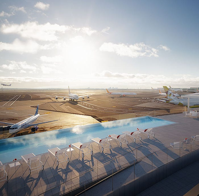 A rendering of the rooftop poll at the new TWA hotel near JFK airport.