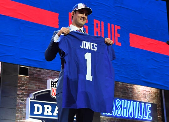 Daniel Jones (Duke) is selected as the number six overall pick to the New York Giants in the first round of the 2019 NFL Draft in Downtown Nashville on April 25, 2019.