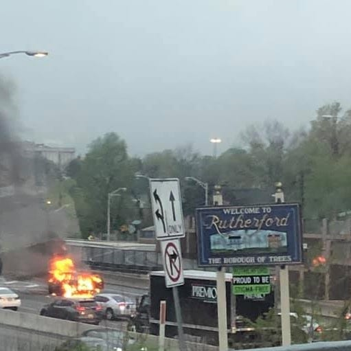 Route 3: Car goes up in flames in Rutherford