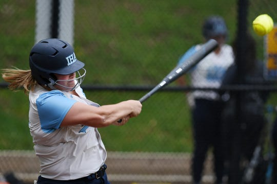 Immaculate Heart Academy plays Ramsey during a softball game at IHA in Washington Township on Thursday April 25, 2019. I#30 Cat Thomas bats.