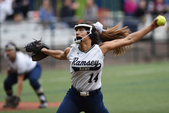 Immaculate Heart Academy plays Ramsey during a softball game at IHA in Washington Township on Thursday April 25, 2019. R#14 Victoria Sebastian pitches.