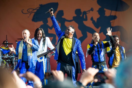 Ralph Johnson, from left, Verdine White, B. David Whitworth, and Philip Bailey of Earth, Wind & Fire perform at the New Orleans Jazz and Heritage Festival on Thursday, April 25, 2019, in New Orleans.