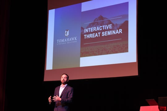 The Bergen County Prosecutor's office hosts a school security training seminar for school administrators at Bergen Community College in the Ciccone Theater on Friday, April 26, 2019. Mike Biller, of Tomahawk Strategic Solution, speaks during the seminar.