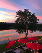 Dining outdoors at Andres, just feet away from Seneca Lake