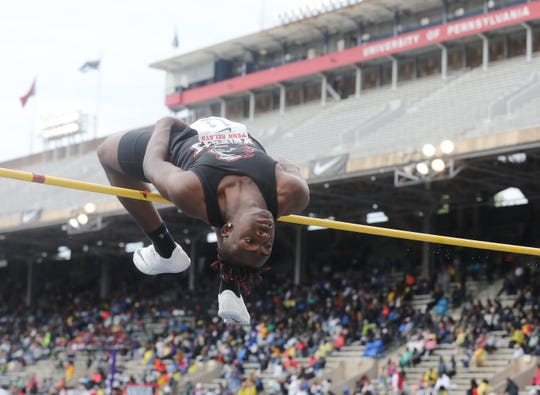 Jamier Wright-Collins of JFK Paterson is successful in this attempt at the high jump.