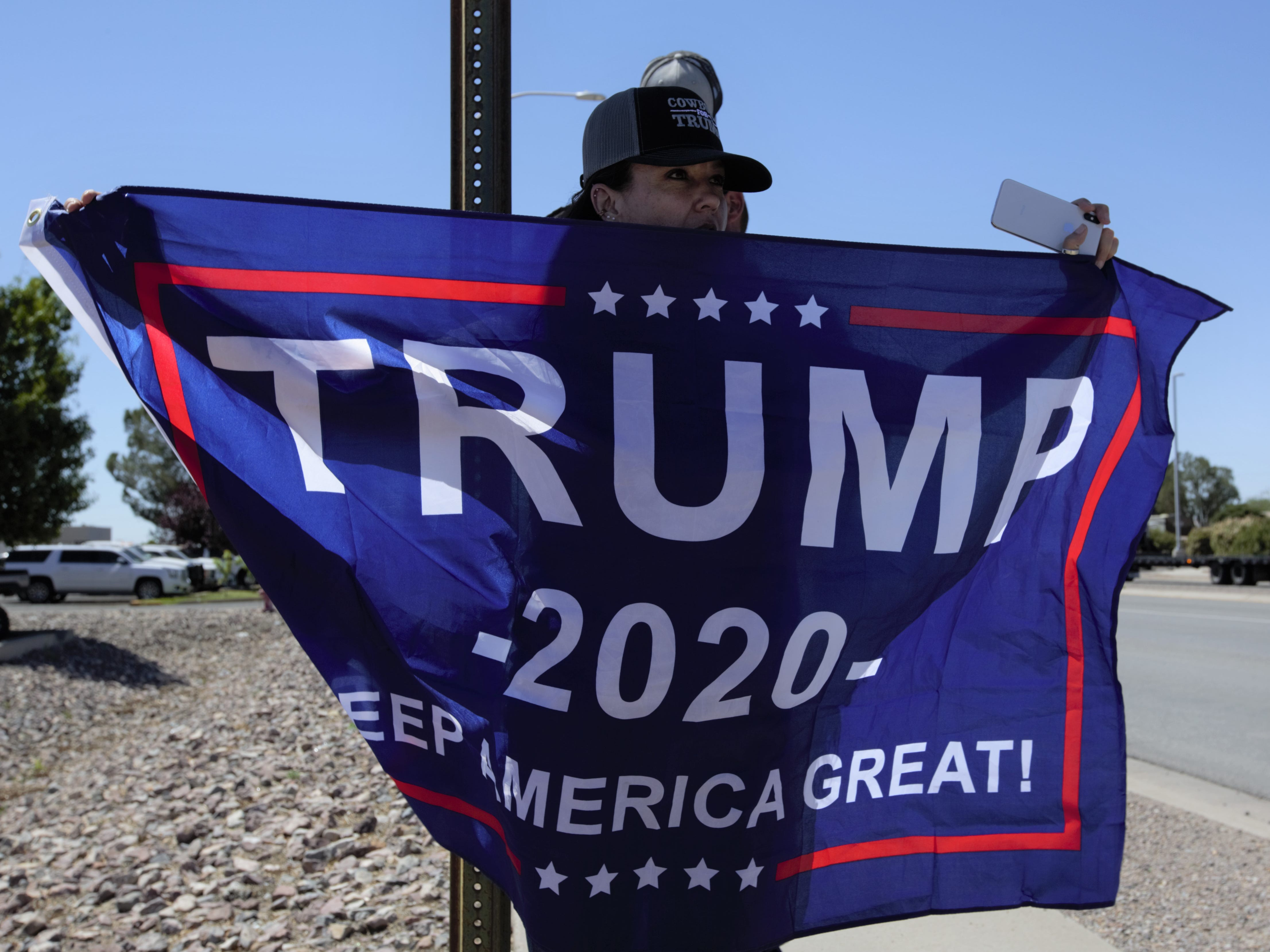 "Jodi Faust, a Catron County rancher, said her family members rode horseback in a Cowboys for Trump procession into Las Cruces on Thursday, April 25, 2019 to ""support the president, support Second Amendment rights, to save the babies and to secure the border."""