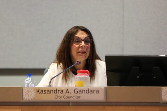 Las Cruces City Councilor Kasandra Gandara speaks at a special meeting on Thursday, April 25, 2019.