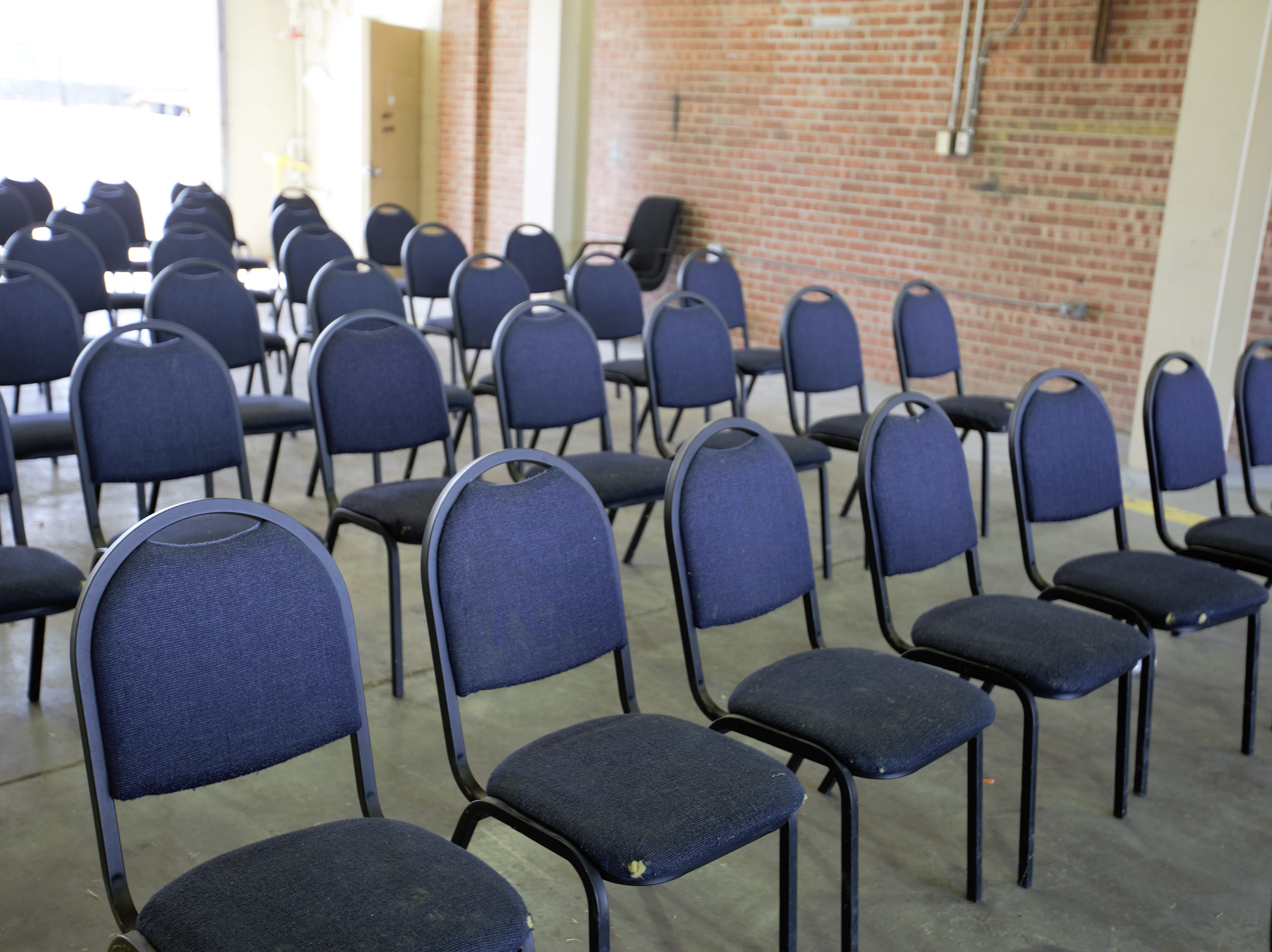 Chairs set up at the intake building for asylum applicants at the former U.S. Army Reserve Center at 1300 W. Brown Road in Las Cruces. Friday, April 26, 2019.