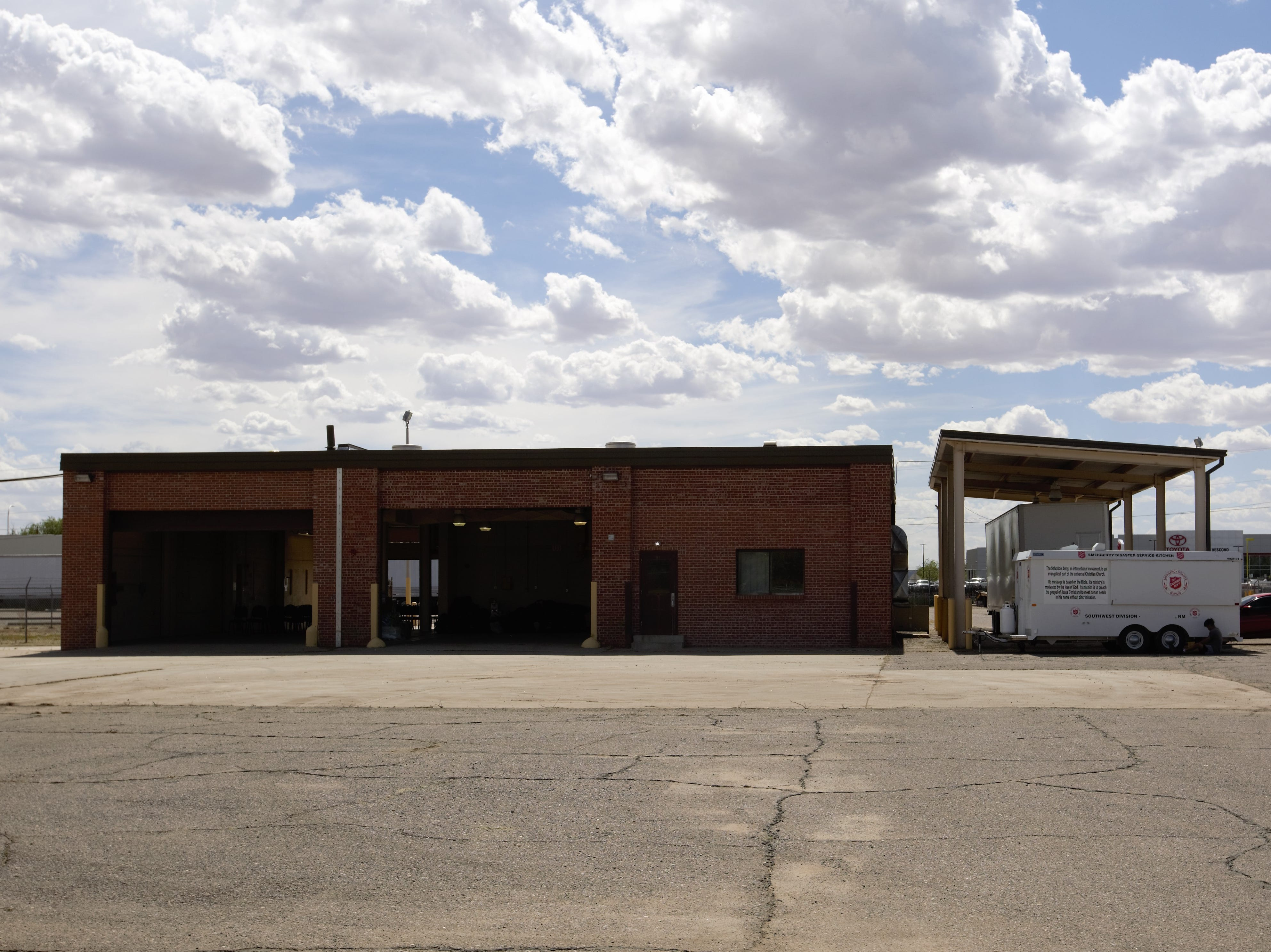 Initial intake building for asylum applicants at the former U.S. Army Reserve Center at 1300 W. Brown Road in Las Cruces. Friday, April 26, 2019.