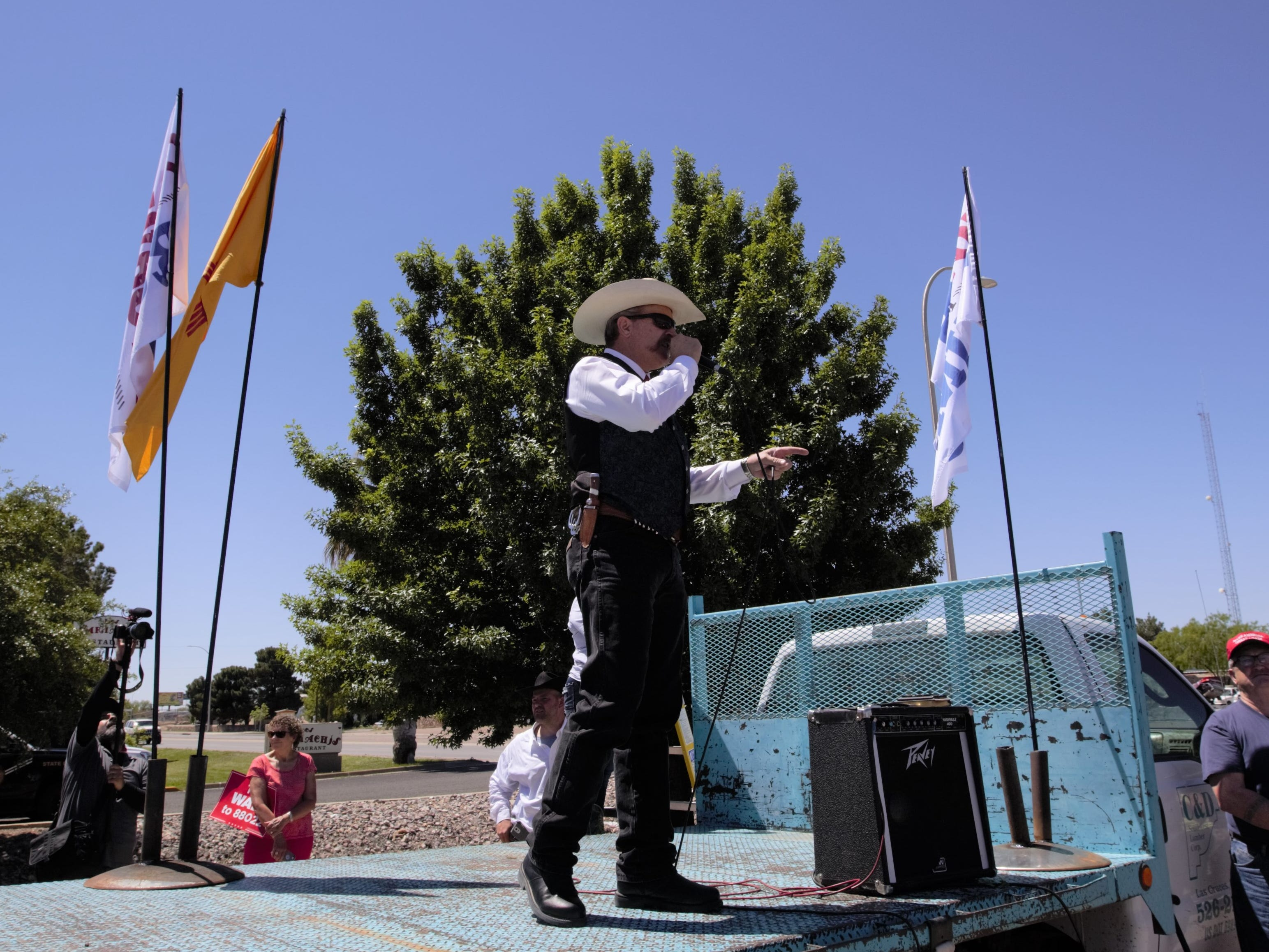 "Sierra County Sheriff Glenn Hamilton addresses attendees at a Cowboys for Trump rally on Thursday, April 25, 2019 in Las Cruces. Hamilton said his county is one of the more-than-two-dozen Second Amendment Sanctuary counties in New Mexico, and he hoped to counter the ""attack on our Second Amendment here in New Mexico and nationwide."""