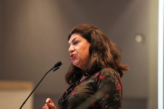 Dolores Lucero, a former Las Cruces City Councilor and 2011 mayoral candidate, addressed councilors at their special meeting on Thursday, April 25, 2019.