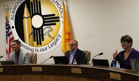 Alamogordo Public Schools held their regular school board meeting Wednesday night. From left: APS School Board President Tim Wolfe, APS Superintendent Jerrett Perry and APS School Board Vice President Angela Cadwallader at the meeting Wednesday,