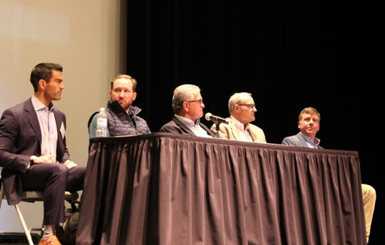 From left, LOGOS CEO Jay Paul McWilliams, Hilcorp Senior Vice President Lower 48 - West Brian Wilbanks, DJR Vice President Production Jerry Austin and Enduring Resources representatives Vice President of Land Alex Campbell and Tim Friesenhahn participate in a panel discussion, Thursday,  at San Juan College.