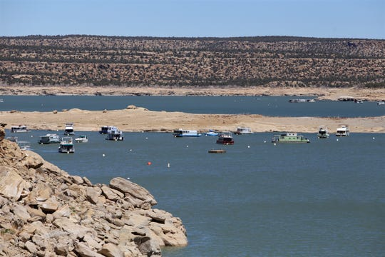 Navajo Lake is pictured, April 18, 2019, in the community of Navajo Dam. The U.S. Bureau of Reclamation plans to release 5,000 cubic feet of water per second from the reservoir this summer.