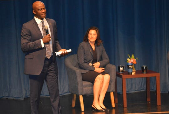 Gov. Gretchen Whitmer brought her Budget Town Hall Tour to Livonia Stevenson High School on Thursday, April 25, 2019.  To her left is state Transportation Director Paul Ajegba.