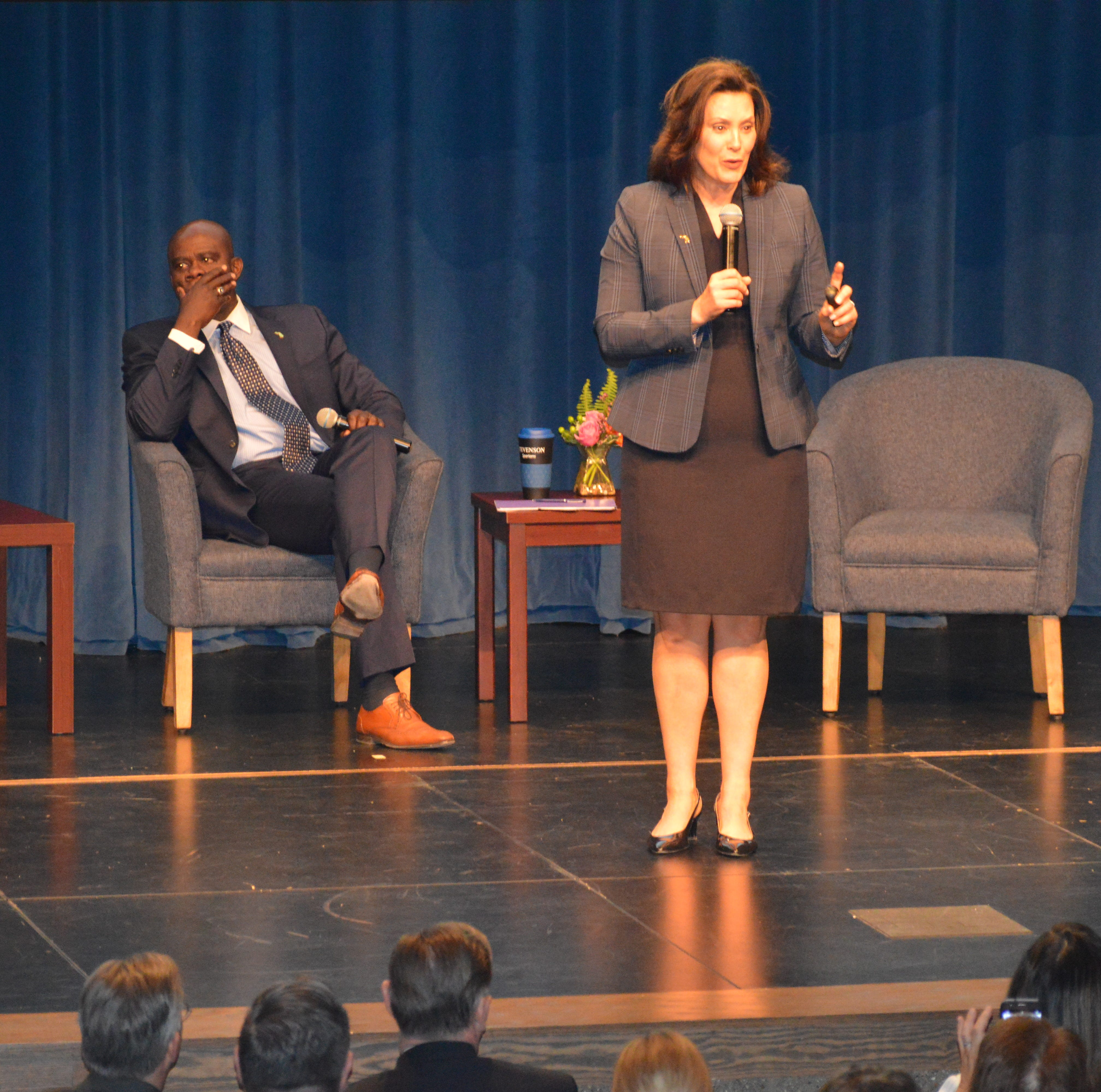 Gov. Gretchen Whitmer visits Livonia Stevenson to talk roads as part of town hall tour