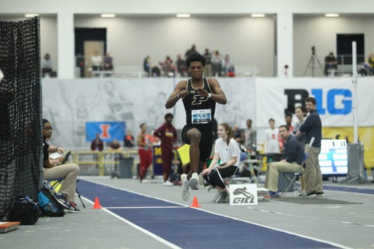 Xavier Prep graduate Jah Strange competes in the triple jump for Purdue University during an indoor meet this season.
