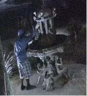 A man stole an $18,000 sculpture from a Palm Desert business and fled on a bicycle.
