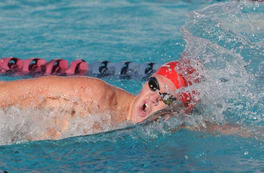 Cody Meyer wins the boys 500 yard freestyle event during the Desert Empire League swimming championship at La Quinta High School, April 25, 2019.