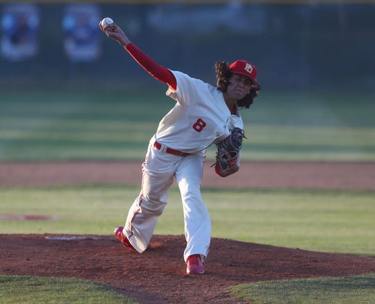 Emiliano Torres pitches for Palm Desert during the Desert Empire League baseball championship at La Quinta High School, April 25, 2019.
