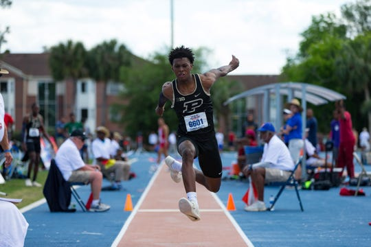 Xavier Prep graduate Jah Strange competes in the triple jump for Purdue University at the Pepsi Florida Relays on Saturday, March 30, 2019 at the Percy Beard Track at James G. Pressly Stadium in Gainesville, FL.
