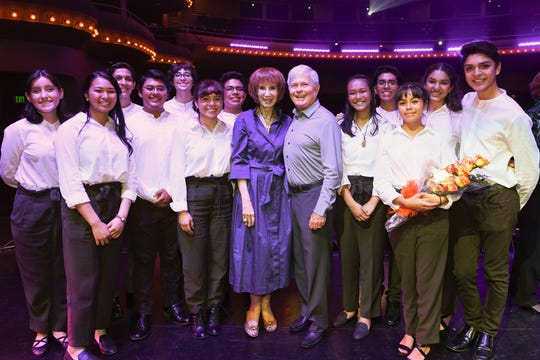 Sapphire Circle sponsors Dale Landon and Carole Haes Landon, center, with Second Place Award Winners, the Coachella Valley Youth Ensemble
