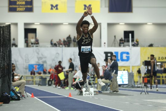Xavier Prep graduate Jah Strange, now a track standout for Purdue University, competes in the triple jump during an indoor meet.