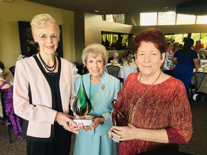 From left: Estelle Layton from The Glenn and Opal Barnett Foundation; Dawn Suggs; and Linda Barrack, the CEO of Martha's Village and Kitchen