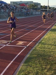 Shadow Hills distance specialist Nyah Chavez crosses the finish line to win the 1,600-meter run Thursday at the DEL meet.