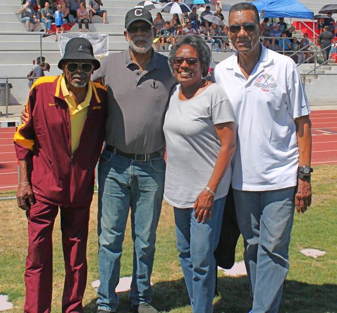 From left: Ron Freeman, John Carlos, Wyomia Tyus and Ed Caruthers