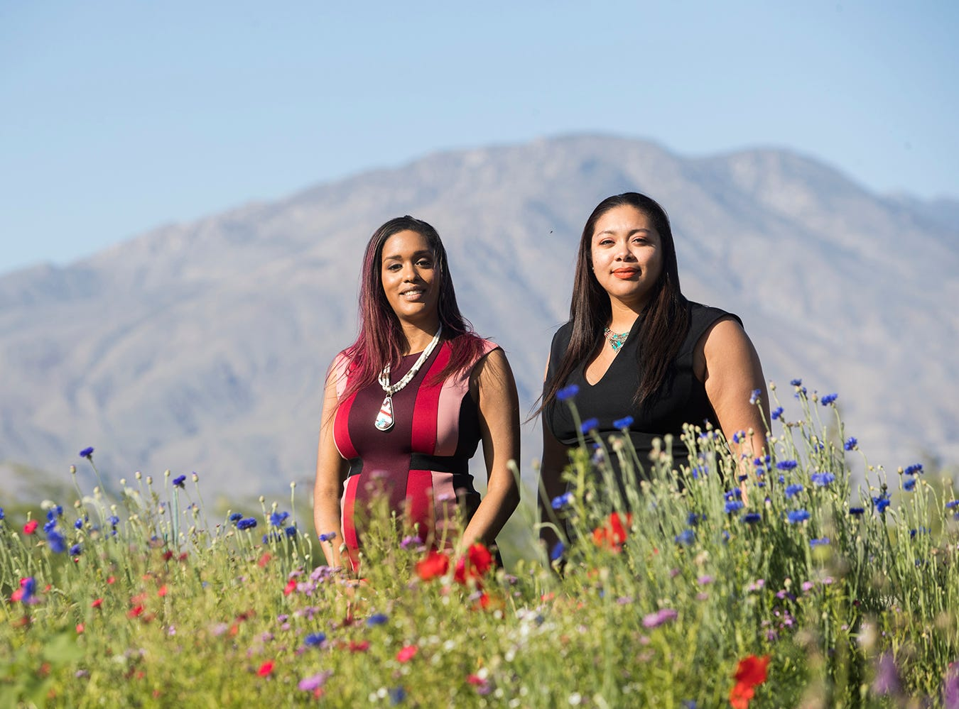 At left, Amanda Vance, the 32-year-old tribal chairof the Augustine Band of Cahuilla Indians is photographed on the reservation in late March 2019 with her cousin Victoria Martin, tribal council secretary.