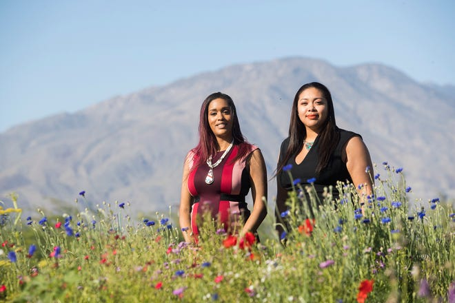 At left, Amanda Vance, the 32-year-old tribal chair of the Augustine Band of Cahuilla Indians is photographed on the reservation in late March 2019 with her cousin Victoria Martin, tribal council secretary.
