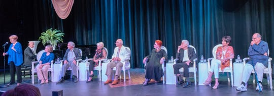 From left: Nancy Dussault , Wayne Abravanel, Alix Korey, Hal Linden, Joyce Bulifant, Gavin MacLeod, Carol Cook, Tom Troupe, Luce Arnaz and Lawrence Luckinbill