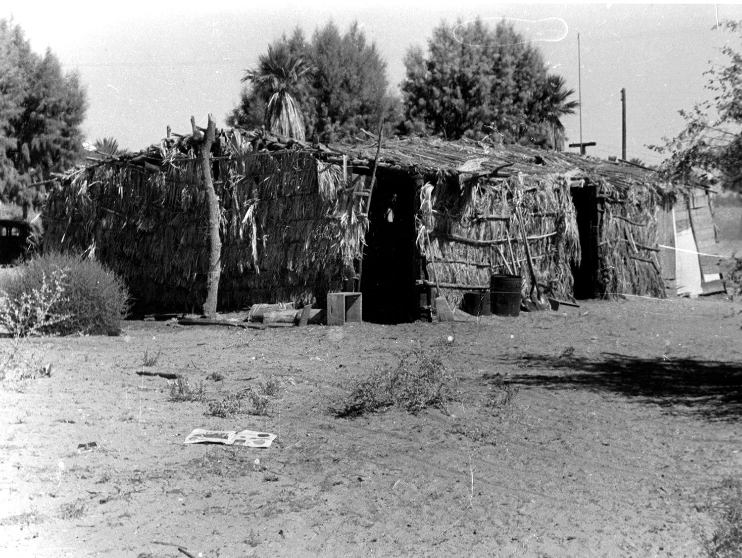 An undated photo shows a ceremonial house on the Augustine reservation in Coachella.